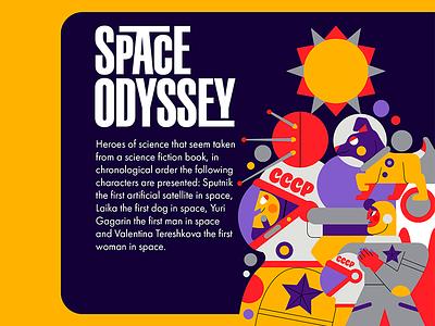 SPACE ODYSSEY space flat vector jhonny núñez ilustración illustration