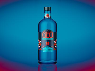 GEO spirit bottle packaging design label design packaging jhonny núñez ilustración illustration