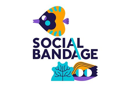 Social Bandage - Logo Emblem sea nursery sea life logo soacial bandage jhonny núñez ilustración illustration