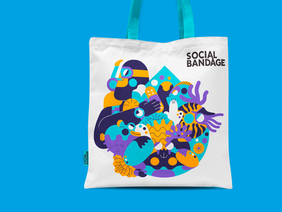 Social Bandage - Tote Bag sea nursery sea life social bandage tote bag jhonny núñez ilustración illustration