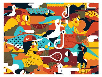 MONDO surf fishing color palette vector flat ilustración jhonny núñez illustration