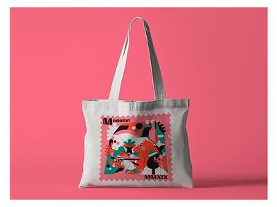 MEDELLÍN TOTE BAG serigrafia screen print mockup colombia medellín bolso bag tote jhonny núñez illustration