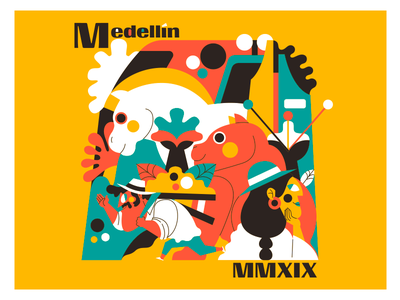 MEDELLÍN MMXIX colombian colombia color palette vector jhonny núñez ilustración illustration