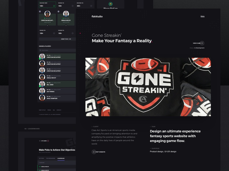 Case study: Gone Streakin' dark interface fantasy sports fantasy cybersport gone streakin portfolio casestudy case