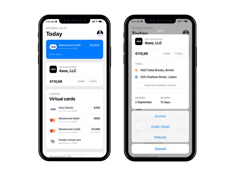 Newbank - Today page, iOS 11 iphone x bank cards today payments bitcoins asos ios 11 newbank