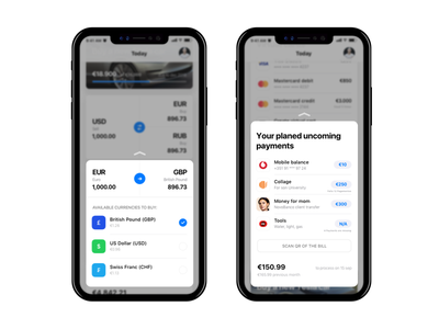 Newbank - 3D Touch Modals, iOS 11 iphone x bank cards payments bitcoins asos ios 11 newbank
