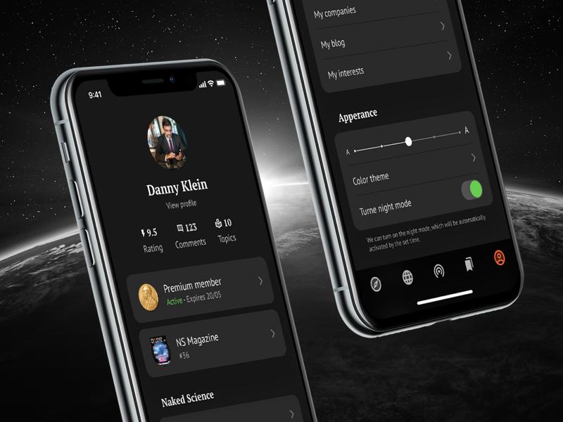 NS iOS: Dark Menu interface redesign app science ios 12 menu dark dark ios