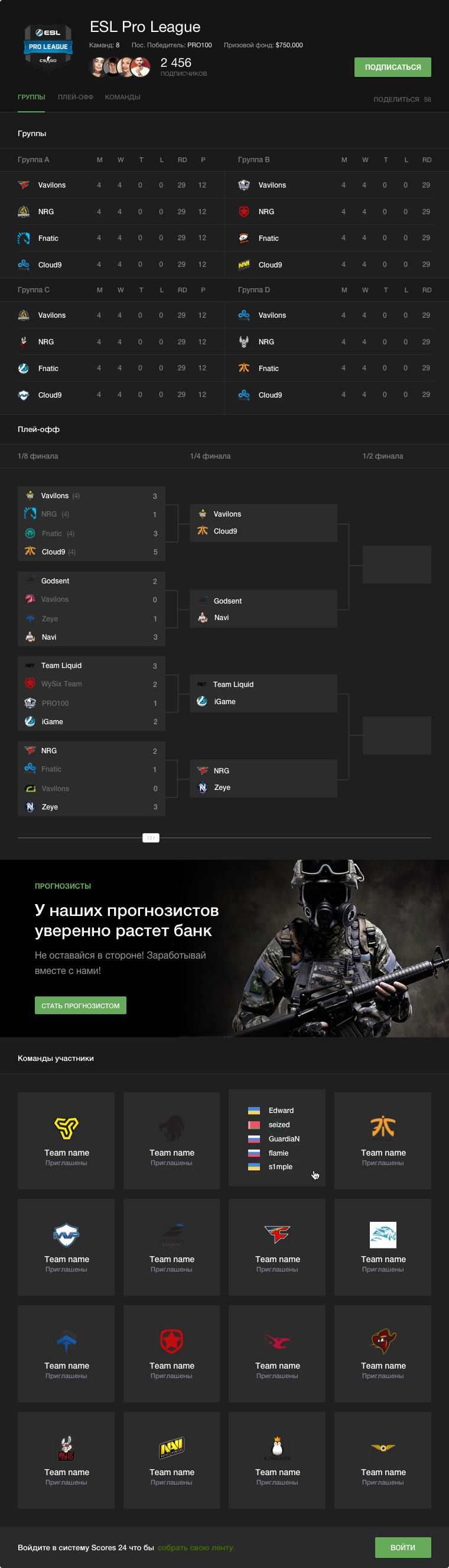 Cyber tournament page