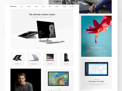 Microsoft: Home page surface studio hololense surface concept redesign landing microsoft