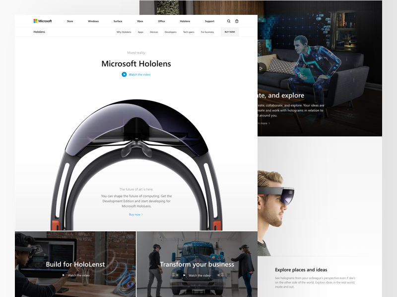Microsoft: Hololens microsoft landing redesign concept surface hololense surface studio