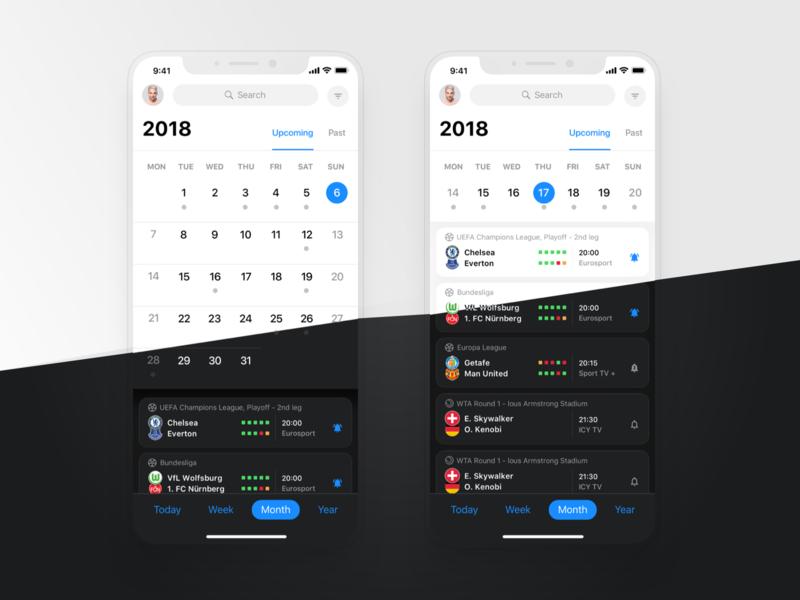 Rewind iOS: Calendar sport events uefa bundesliga football matches today matches calendar design bookmakers sports calendar rewind