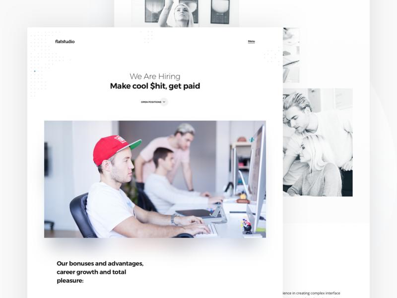 Flatstudio: Hiring page agency website design studio landing studio hr interface hiring interface team page interface designer hiring page flatstudio