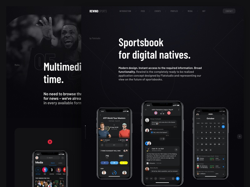 Rewind - Sportsbook presentation chats dialogs multimedia bet betting sportsbook app presentation design landing presentation rewind
