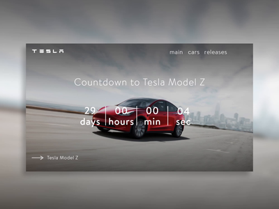 DailyUI #014, Tesla website, new model release countdown