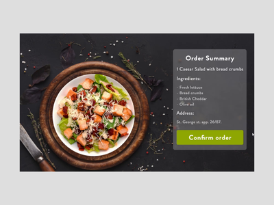 Pop Up design for meal order #DailyUI  #016