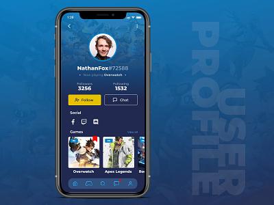 Gamer User Profile Page user interface design profile page user interface gamer app design user experience ux design ui dailyui uidesign