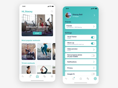 Workout App settings daily ui 007 daily 100 challenge settings ui product design sport app fitness app workout app ux app design app dailyui daily ui uidesign design ui