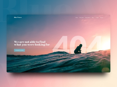 404 Page waves surfer surf 404 page daily ui 008 daily ui daily 100 challenge dailyui uidesign design ui