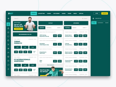 DBet - Betting Sports Web Page product design interaction design interface sports design sportpage betting bet ux uidesign design ui