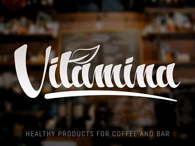 Vitamina identity lettering bar coffee branding logo