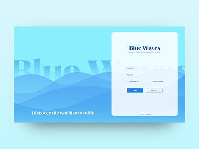 Blue Waves Login/Sign Up - Daily UI #001 uidesign ui design dailyui daily ui waves discover surf signup login gradient blue