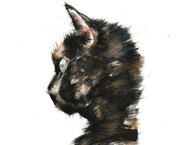 Misses painting handmade art watercolour green black orange tortie cat misses