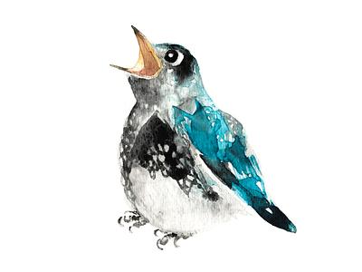 Bluebird Birthday Wish watercolour graphite handmade birdwatching bird wish birthday bluebird