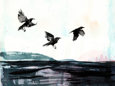 Crows handmade watercolour painting illustration expression abstract birds corvid ravens crows