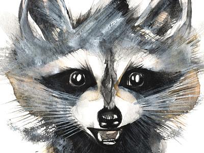 Racoon stealing seeds! painting handpainted happy smile handmade watercolour seeds stealing racoon raccoon