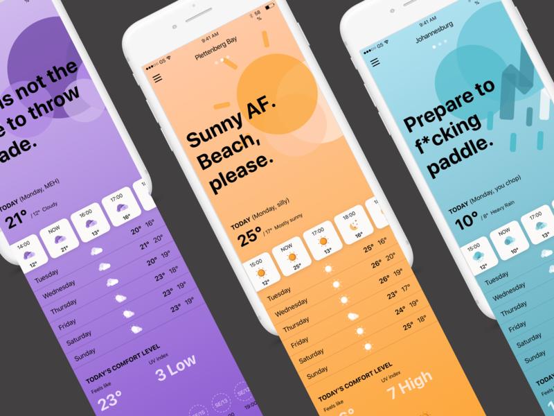 Weather app concept user interface sketch gradient app weather