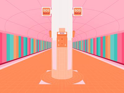 Westend Station Frankfurt germany sos orange station stripes pink train underground design architecture building illustrator colour vector illustration