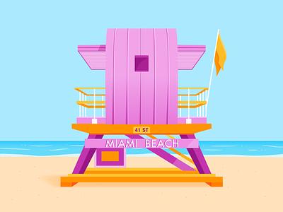 Lifeguard Tower - Miami Beach sun sky orange purple type ocean tower lifeguard miami summer beach architecture light illustrator shadow colour vector illustration