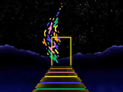 Portal mountains world stars night sky night imagination fantasy rainbow portal gate adventure texture light illustrator shadow colour vector illustration