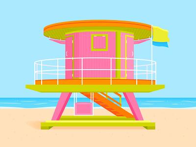 Lifeguard Tower - Miami Beach tower sun summer sky shadows green orange pink oceans light lifeguard miami beach building architecture illustrator shadow colour vector illustration