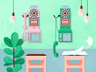 Long Distance pastel lightbulb design interior texture phone book plant telephone wes anderson phone retro payphone light illustrator colour vector illustration