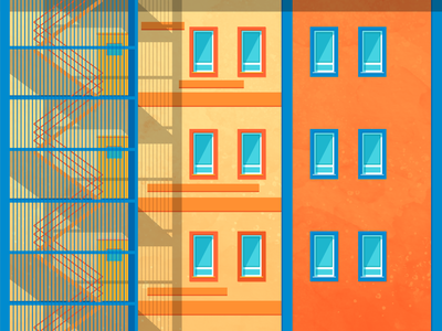 Sunset Hues sun sunset wes anderson contrast blue orange stairs window building architecture texture light illustrator shadow colour vector illustration