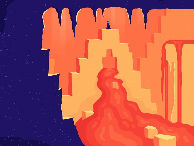 36 Days of type - A 36daysoftype a 36 days of type texture girl mountain cliff contrast blue orange letter lava cave illustrator 36days-a illustration type shadow colour vector