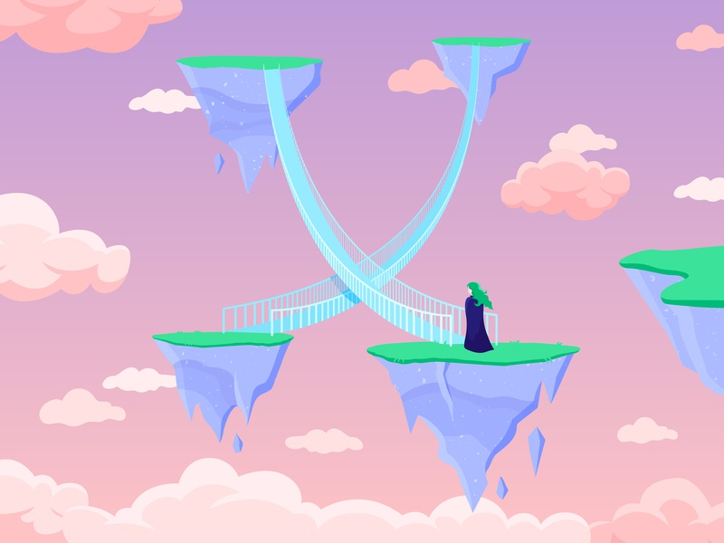 36 Days of type - X bridge x 36days-x 36daysoftype 36 days of type texture letter illustrator illustration type shadow colour vector light adventure sky sunset cloud floating island