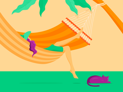 Lazy days - relaxing plant leaves tropical purple orange tree stripes hat summer cat girl hammock bright illustration vector colour shadow illustrator green