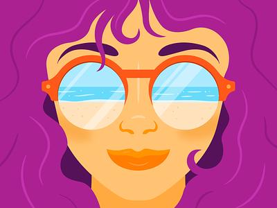 Summer sun - light ocean hair sea beach reflection sunglasses sun blue illustrator shadow colour vector illustration bright girl summer orange purple tropical