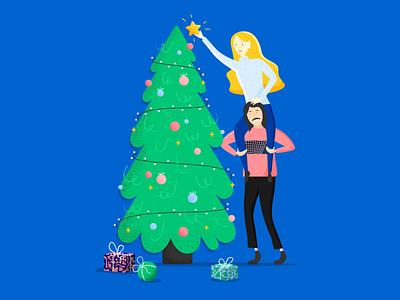 Christmas 2019 pine illustrator presents pattern couple decoration greetings season holidays card star blue lights tree christmas texture colour vector illustration