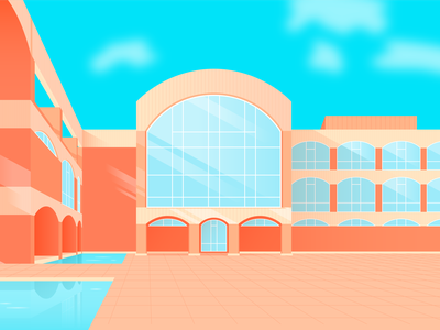 Falmer House - University of Sussex lines contrast arches light window reflection sky moat blue orange building bright illustration vector colour shadow illustrator architechture pool water