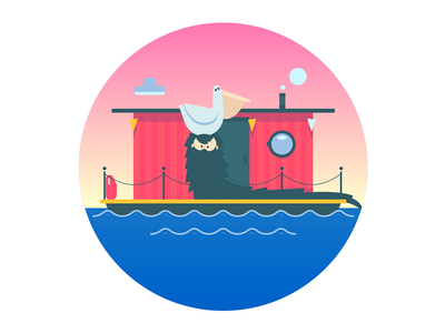 Houseboat illustrator flat illustration vector