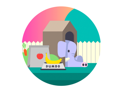 Dumbo banana food garden flat illustrator character illustration vector doghouse elephant