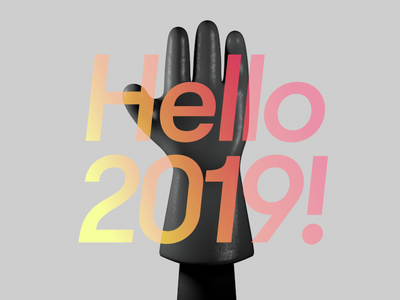 Hello 2019 new year glove hand high five 3d illustration cinema4d