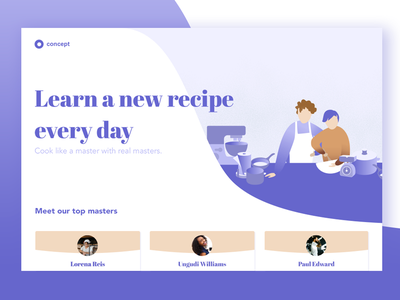 A website concept for recipe learning concept visual design ui web illustration
