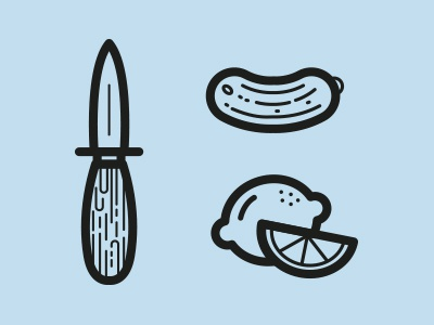 Oystr. / Icons icons pictograms knife lemon pickle see outlines cute oyster eat ocean lines