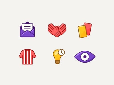 Kickstox light bulb glove jersey mail eye red card game sport fantasy football illustration icons graphic design