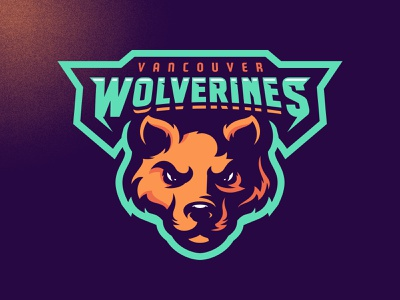 Vancouver Wolverines skull m7d illustrator london grunge design football esports sports logo