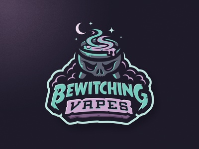 Bewitching Vapes night vaping vape spooky witch skull m7d design esports sports logo